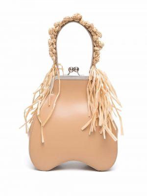 Brązowa torebka skórzana perły Simone Rocha
