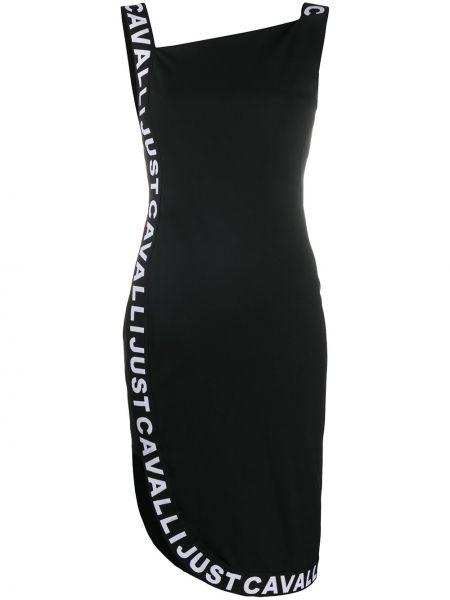 Черное асимметричное платье квадратное из вискозы Just Cavalli