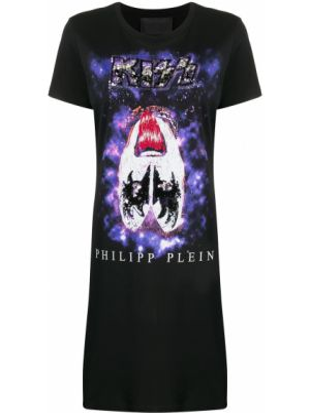 Платье мини футболка черное Philipp Plein