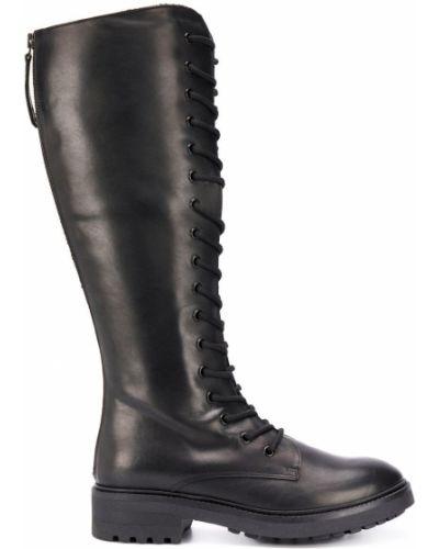 Черные кожаные сапоги на шнуровке P.a.r.o.s.h.