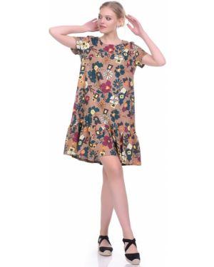 Льняное плиссированное платье мини с вырезом круглое Lautus