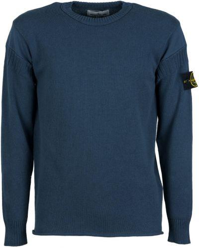 Niebieski długi sweter bawełniany z długimi rękawami Stone Island