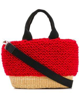Красная соломенная сумка на плечо Muun
