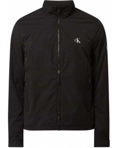 Czarny kurtka jeansowa ze stójką z kieszeniami Calvin Klein Jeans
