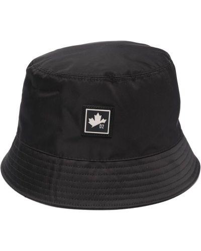 Czarny kapelusz bawełniany Dsquared2