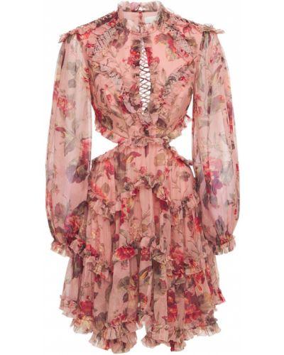 Шелковое розовое платье с манжетами с принтом Zimmermann