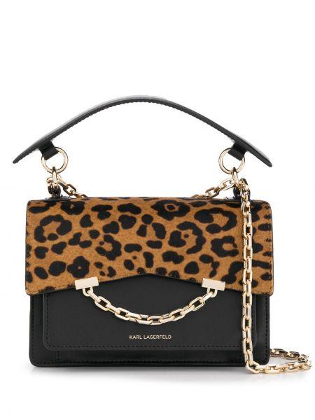 Кожаная сумка на цепочке с леопардовым принтом Karl Lagerfeld