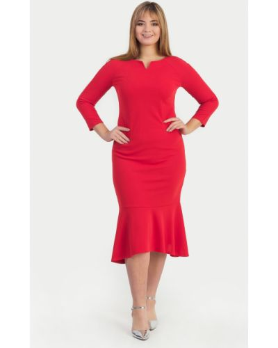 Вечернее платье через плечо красный Lacywear