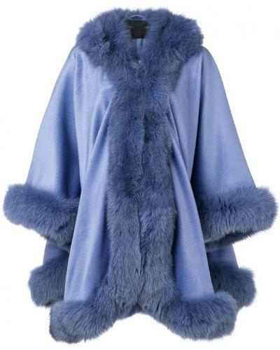 Синее пальто с капюшоном Liska