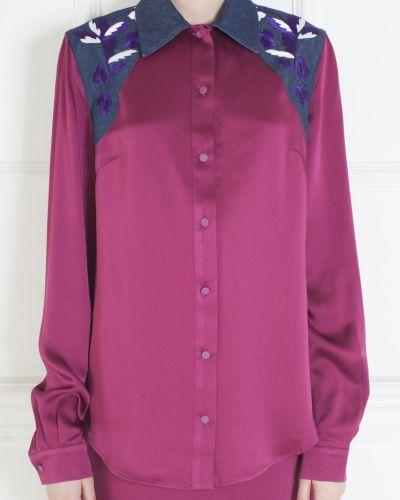 Шелковая красная блузка с вышивкой Jonathan Saunders