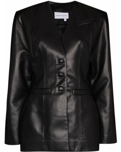Черный кожаный пиджак Aleksandre Akhalkatsishvili