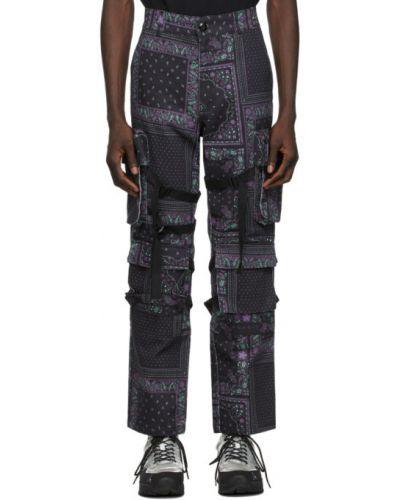 Хлопковые черные брюки карго с карманами Rogic