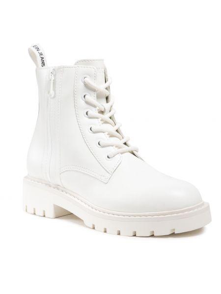 Botki skórzane - białe Calvin Klein Jeans