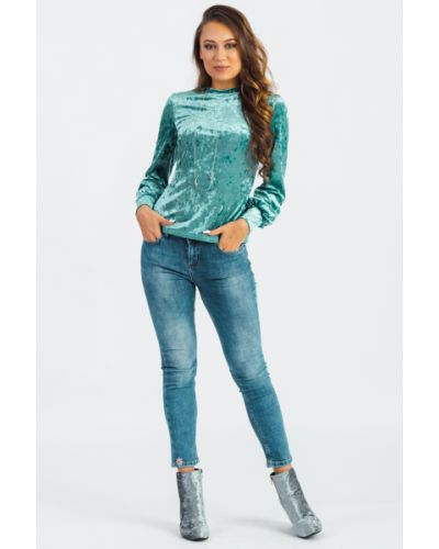 Блузка зеленый бархатная Lacywear