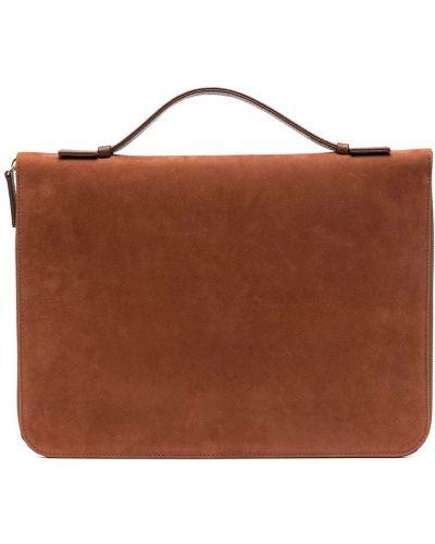 Brązowy skórzany torba kosmetyczna z kieszeniami Eleventy