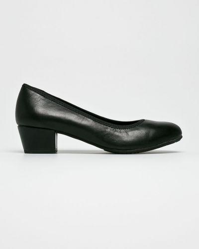 Кожаные туфли на каблуке текстильные Jana