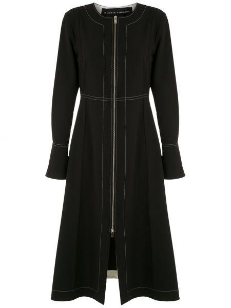 Черное платье миди на молнии с длинными рукавами с вырезом Gloria Coelho