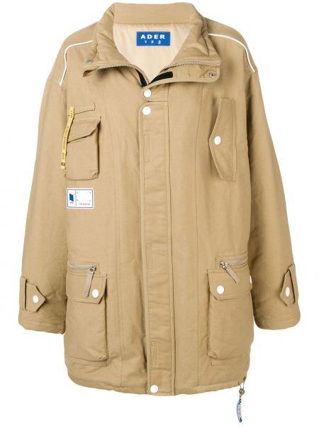 Коричневый длинное пальто оверсайз с карманами Ader Error