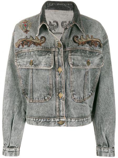 Серая джинсовая куртка с вышивкой с воротником A.n.g.e.l.o. Vintage Cult