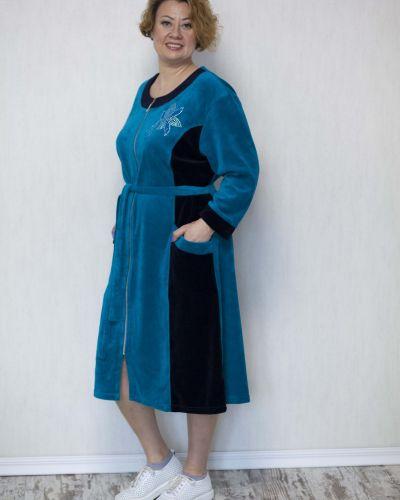 Велюровый халат - бирюзовый Lily