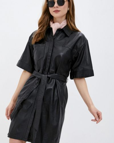 Кожаное черное платье Oakwood