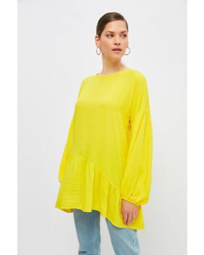 Tunika z wiskozy - żółta Trendyol