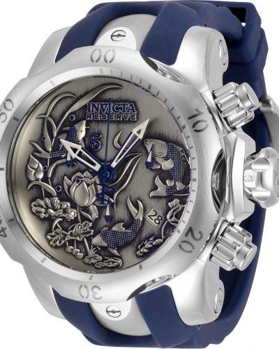 Серые силиконовые часы водонепроницаемые со вставками Invicta