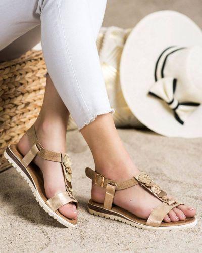 Żółte złote sandały eleganckie Evento