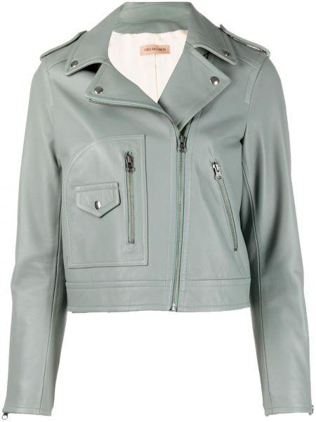 Зеленая кожаная короткая куртка на молнии Yves Salomon