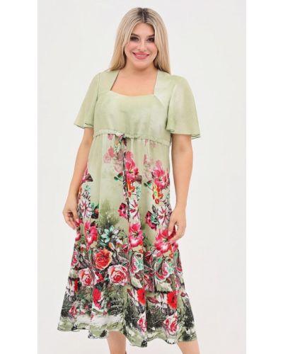 Повседневное зеленое повседневное платье Luxury Plus