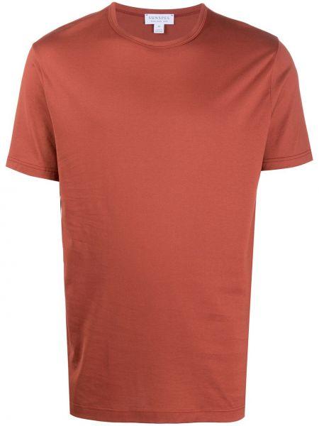 Прямая хлопковая коричневая футболка с круглым вырезом Sunspel