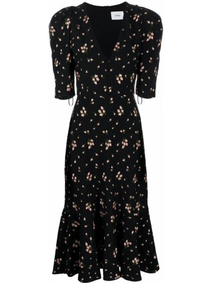 Расклешенное с рукавами черное платье миди Erdem
