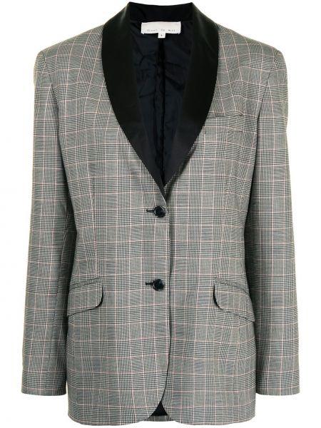 Однобортный серый удлиненный пиджак в клетку Fleur Du Mal