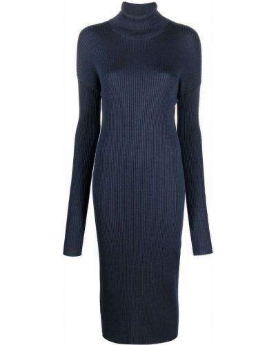 Niebieska sukienka długa prążkowana Mrz