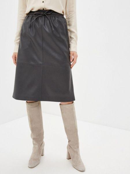 Кожаная юбка весенняя серая Sela