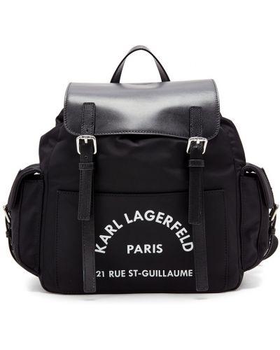 Кожаный рюкзак текстильный с надписью Karl Lagerfeld