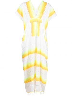 Żółta sukienka mini krótki rękaw bawełniana Lemlem