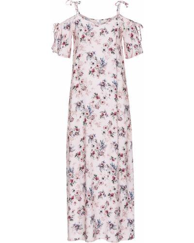 Платье макси с цветочным принтом с разрезом Bonprix