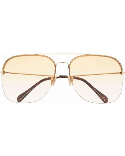 Żółte złote okulary Tom Ford Eyewear