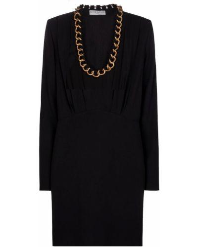 Złoty czarny sukienka z dekoltem Givenchy