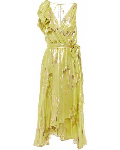 Облегченное шелковое зеленое платье миди Temperley London