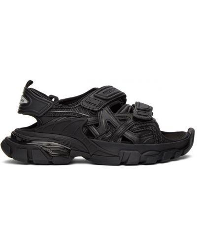 Skórzany czarny skórzany sandały na pięcie na paskach Balenciaga