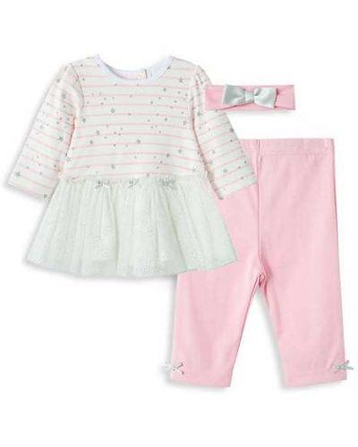 Różowe legginsy w paski bawełniane Little Me