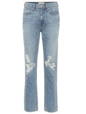 Ватные хлопковые синие прямые джинсы с разрезом Slvrlake