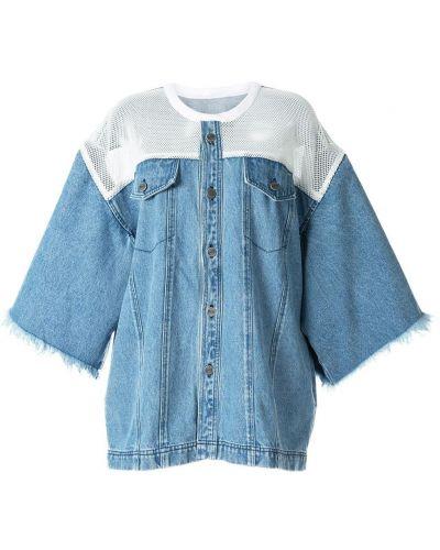 Синяя джинсовая рубашка с сеткой с запахом Pony Stone