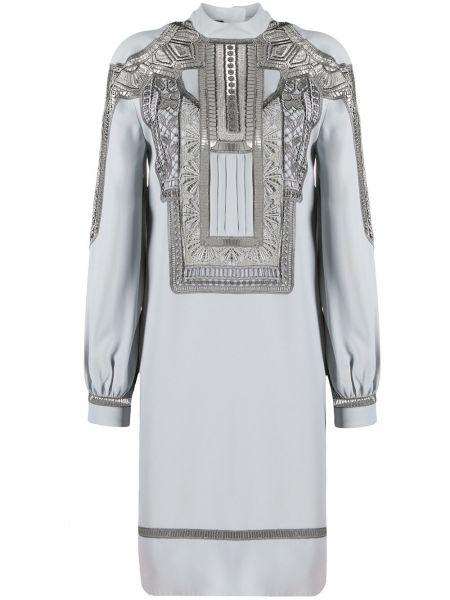 Серое платье мини с вышивкой с длинными рукавами с вырезом Alberta Ferretti