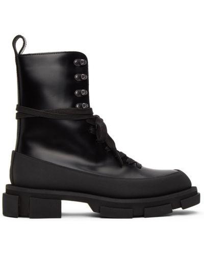 Ажурные текстильные черные сапоги на шпильке на шнуровке Both