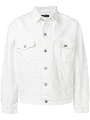 Джинсовая куртка с вышивкой - белая Balenciaga