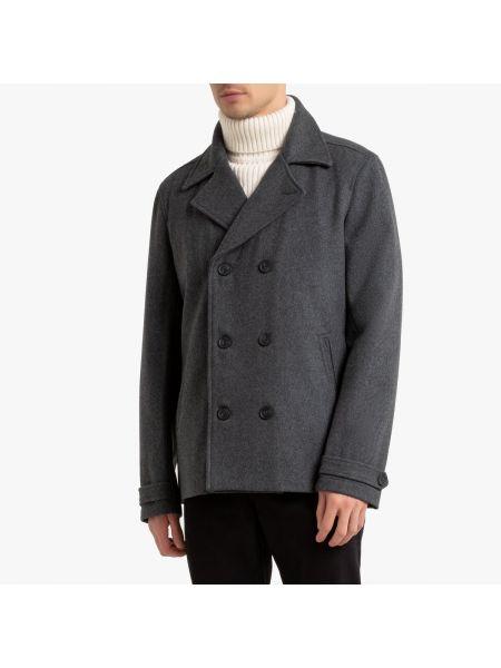 Шерстяное пальто с воротником на молнии с подкладкой La Redoute
