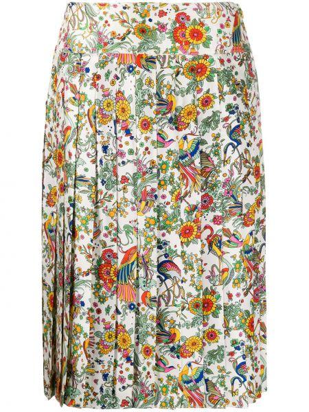 Плиссированная юбка с завышенной талией с цветочным принтом Tory Burch